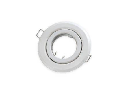 Oprawa halogenowa sufitowa okrągła ruchoma, tłoczona - biała matowa