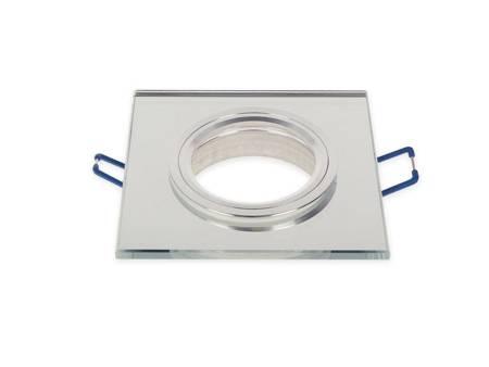 Oprawa halogenowa sufitowa szklana kwadratowa biała stała - SMIRO