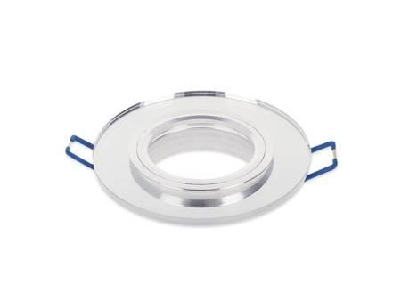 Oprawa halogenowa sufitowa szklana okrągła stała srebrny - SMIRO