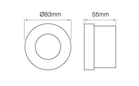 Oprawa sufitowa wodoodporna, okrągła, stała, odlew, aluminium - chrom
