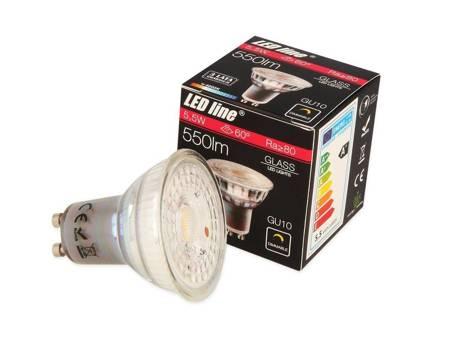 Żarówka LED line GU10 220~240V 5,5W 550lm 60° 4000K ściemnialna