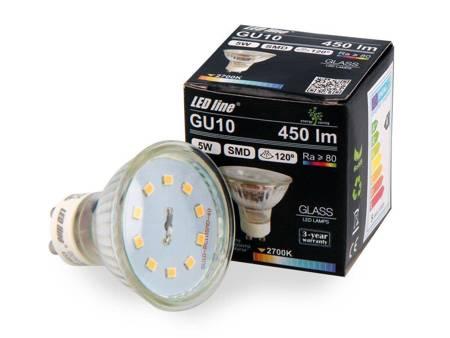 Żarówka LED line GU10 SMD 220-260V 5W 450lm 120° biała ciepła 2700K