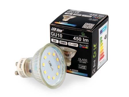 Żarówka LED line GU10 SMD 220-260V 5W 450lm 120° biała dzienna 4000K