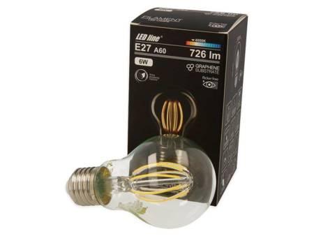 Żarówka LED line® FILAMENT E27 A60 180-265V 6W 726lm 4000K biała dzienna