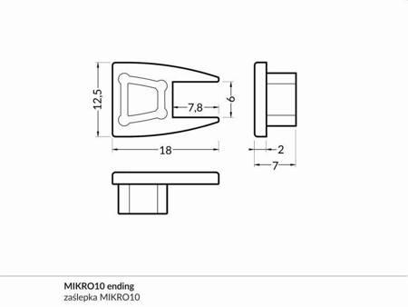 Zaślepka kpl. 2 sztuki transparentna do profilu MIKRO10 na szybę 6 mm