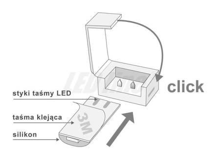 Złączka CLICK pojedyncza do taśm LED wodoodpornych 8mm + przewód